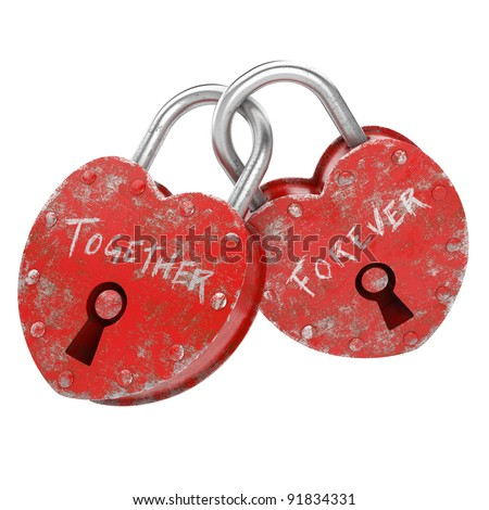 two padlocks with together forever written as concept for eternal  love isolated and with clipping path
