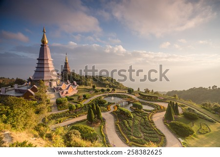 Two pagodas on the peak of Doi Inthanon, Chiang Mai, Thailand.