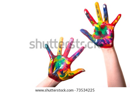 two painted colorful hands with space for text on a white background - stock photo