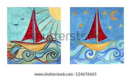 Two paintings for baby boy room with ship in the sea with moon and sun. Collage of two hand drawings - watercolor.
