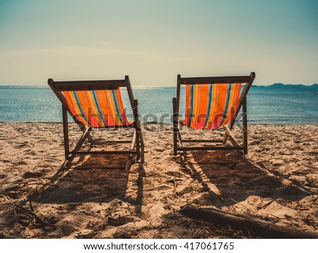 Two pairs of beach For a relaxing day by the sea in the evening