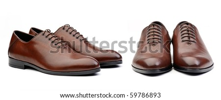 Two pairs of brown  male classic shoes