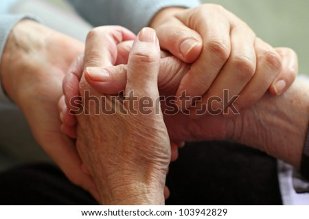 two pairs of hand touch each...