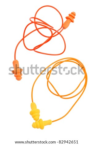 Two pairs of  rubber earplugs on white background