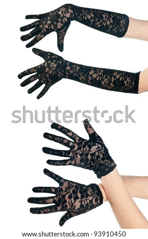 two pairs of woman black lace gloves