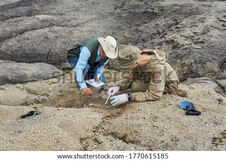 two paleontologists extract fossilized bone from the ground in the desert Foto stock ©