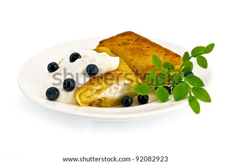 Two pancakes with cottage cheese, blueberries and a branch on a white porcelain plate, isolated on white background