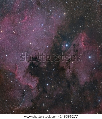 Two Panel Mosaic of The North American and Pelican Nebulae