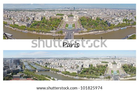 Two panoramic pictures of Paris from the Eiffel tower, France