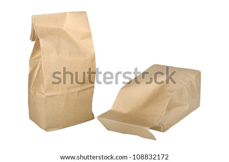 two paper bag isolated on white background