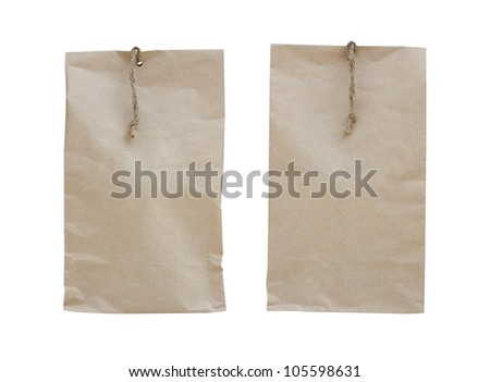 two paper bag of tea with. Isolated on white