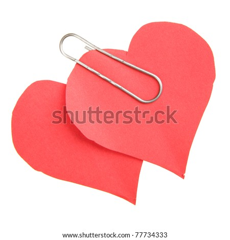 Two paper hearts isolated over the white background