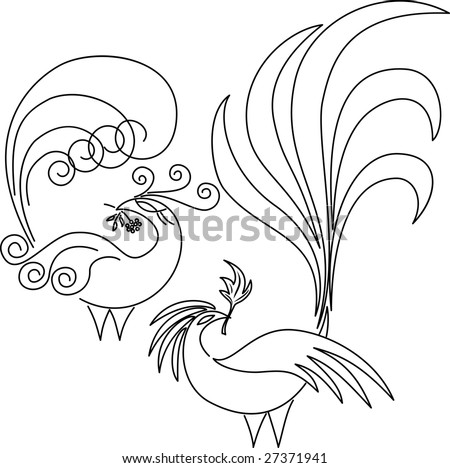 Bird of Paradise Line Drawing