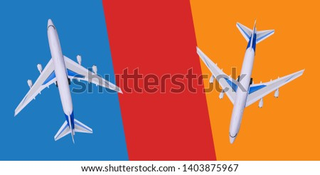 Two passenger planes fly in different directions. Sale and booking of tickets, tourist vouchers, tours. Hot tours. Copy space. Travel, business flights. Minimalism