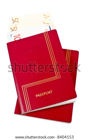Two passports and money isolated on white background. Clipping path included