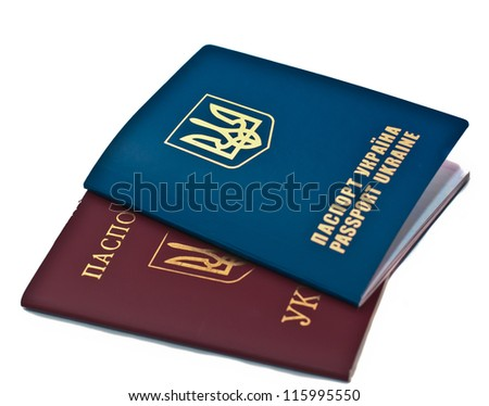 Two passports isolated on white background