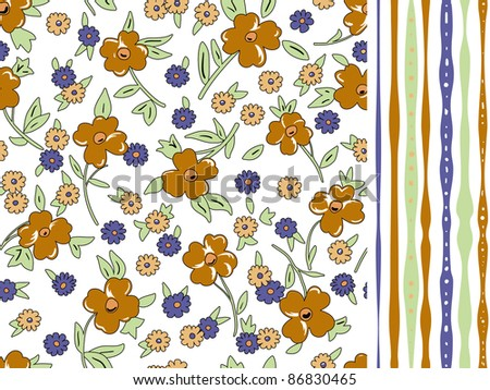 Two pattern floral and striped background. Seamless pattern can be used for wallpaper, pattern fills, web page background, surface textures.
