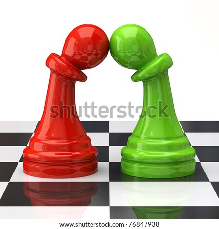 Two pawns in love on the chessboard