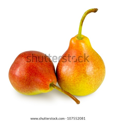 Two pears on white back. Work path included. - stock photo