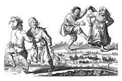 Two peasant couples dance in the open air.