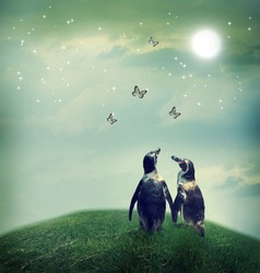 Two penguin friendship or love theme image at a fantasy landscape