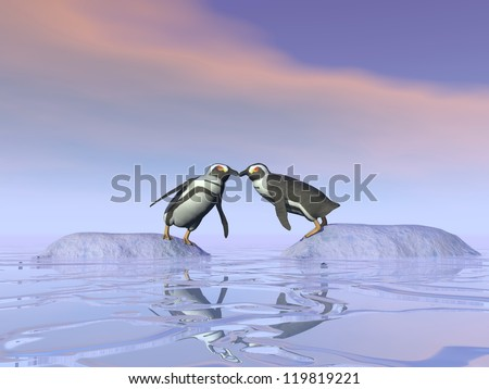 Two penguins standing on separate iceberg and trying to kiss each other upon the water