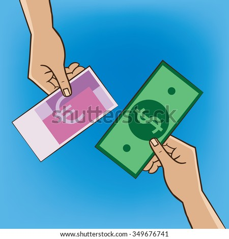 Two people changing money - replacement and exchange concept. Raster version of illustration