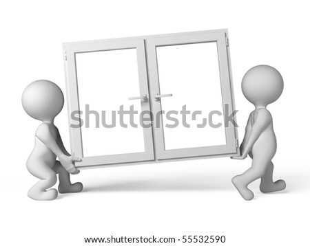 Two people have plastic window