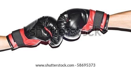 Two people hitting each other with boxers gloves, hands isolated on white background