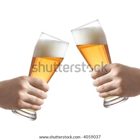 Two people holding a beer glass against white background