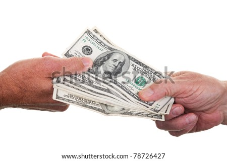 Two people passing a stack of one hundred dollar bills from hand to hand, isolated on white.