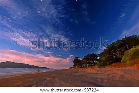 Two people walking on beach at dusk