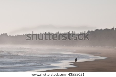 people walking on the beach. Two people walking on the