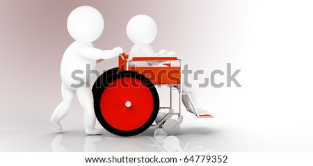two people, wheelchair