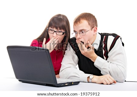 two people with laptop on white background