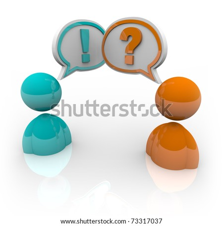 Two people with speech bubbles - one with a question mark and another with an exclamation point, symbolizing the difference in opinion and viewpoints