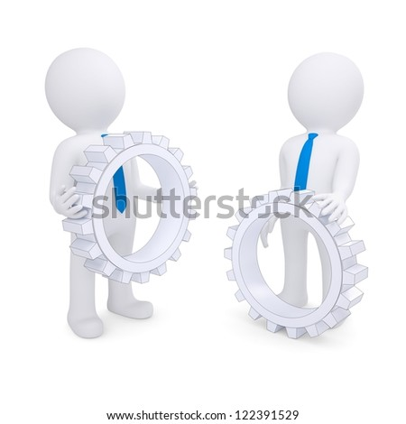 Two people with the gears. Isolated render on a white background