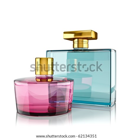 Two perfume bottles with reflections. 3d render.
