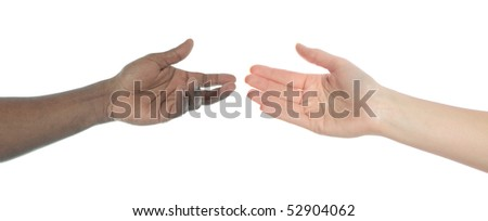 Two person of different skin color reaching hands. All on white background.