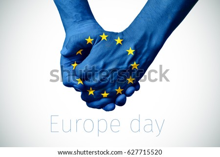 two persons holding hands patterned with the flag of the european community and the text europe day on an off-white background, with a slight vignette added