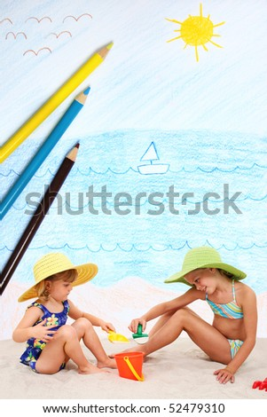 Two photographed children playing on a crayon pencil beach.