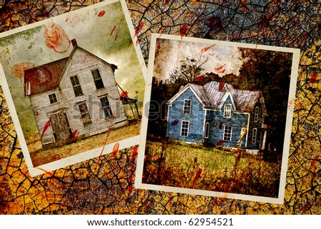 Two photos of old houses with blood splatter against a heavily grunged background.