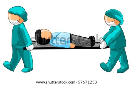 Two physicians carrying a businessman on a stretcher.