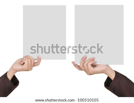 two pictures of businesswoman's hand holding blank paper, isolated on white background 1 - stock photo
