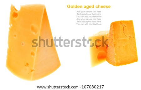 two pieces of french gourmet cheeses  isolated over white background
