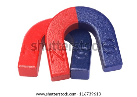 Two Pieces of Horseshoe Magnets on White Background