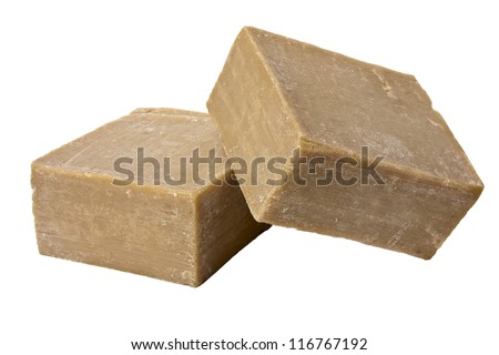 Two pieces of natural olive soap handmade on white background