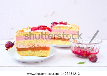Two pieces of plum layer cake  #1477481213