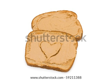 Two pieces of whole wheat toast isolated on a white background, Liking peanut butter toast
