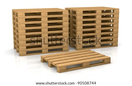 two piles of pallets with one in front of them (3d render)